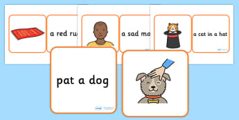 Phase 2 Pictures And Captions Matching Cards (Square Cards) - Phase 2, Phase two, Word cards, matching, matching activity, captions, pictures, DfES Letters and Sounds, Letters and sounds