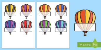 Editable Self-Registration Labels (Hot Air Balloons) - Self registration, register, transport, hot air balloons, editable, labels, registration, child name label, printable labels