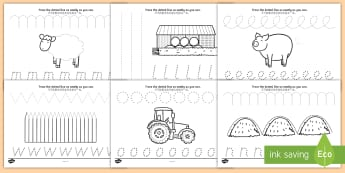 On the Farm Pencil Control Activity Sheets English/Mandarin Chinese - the scarecrows wedding,  on the farm, on the farm pencil control, on the farm writing worksheets, le