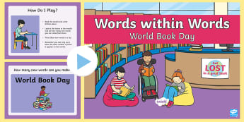 KS1 Words within Words Game World Book Day PowerPoint - lesson starters, literacy warm-ups, reading day, book day activities, book day games, book day word