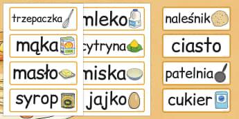 Karty ze slownictwem na Pancake Day po polsku - szkola, dzieci , Polish