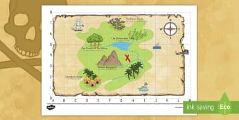 Pirate Treasure Map US English/Spanish (Latin) - pirate, pirates, ship, sea, treasure, treasure map, map, boat, island , pirtaes, prirate, spanish, e