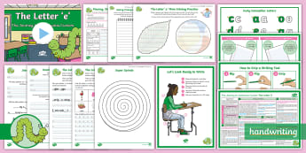 The Journey to Continuous Cursive: The Letter 'e' (Curly Caterpillar Family Help Card 4) KS2 Activity Pack -  Nelson handwriting, penpals, fluent, joined, legible, handwriting