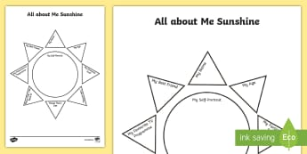 All about Me Sunshine Activity Sheet -  Back To School, sunny, weather, About Me, Ourselves, All About Me, Family, Ks1, Y1, Year 1, EYFS, R