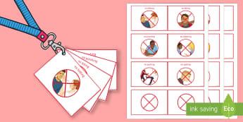 Lanyard Sized Visual Support Cards - behaviour, ks3, ks4, warning, reminder