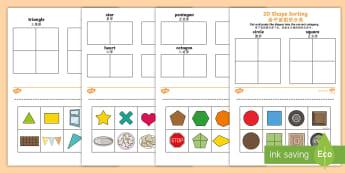 2D Shape Sorting Activity Sheet English/Mandarin Chinese - worksheet, 2D Shape Sorting Activity Sheet - 2D, shapes, 2D shape, 2D shapes, shape sorting, ks1 sha