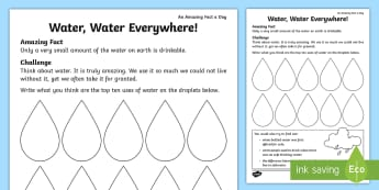Water, Water, Everywhere! Activity Sheet - science, KS1, amazing fact, uses of water, everyday life, worksheet