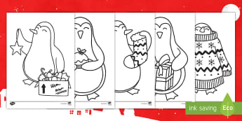 Christmas Penguin Colouring Pages English/Portuguese - KS1, Key Stage One, Animal, Festive, Themed, Cute, December, Winter, eal
