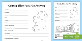 County Sligo Fact File Activity Sheet - ROI Topics -  Sligo, Activity Sheet, Connacht, Geography,Irish, worksheet