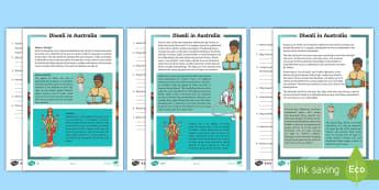 3-6 Diwali Differentiated Reading Comprehension Activity - Australia, Diwali, festival of lights, religion, reading, comprehension, fact file, factsheet,Austra