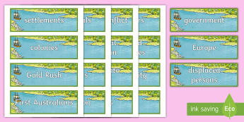 Migration to Australia Word Cards - Australia, HASS, history, geography, migration, migrate, stories, colony, convicts, family histories
