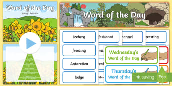 Year 1 Spring 1 Word of the Day Display Pack - vocabulary, spelling, kS1, nouns, adjectives, compound words, suffixes, multisyllabic words.