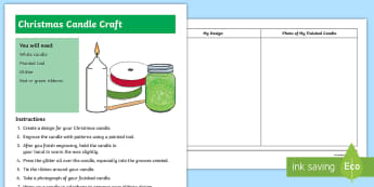 Glittery Christmas Candle Craft Instructions - candle, craft, christmas, xmas, new zealand