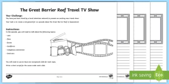 The Great Barrier Reef TV Storyboard Template - ACHASSK066, year 3, queensland, geography, australia, australian, natural, nature, wonder of the wor