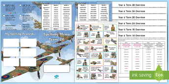 Year 6 World War II Themed Spelling Menu Pack - spag, gps, home learning, weekly, lists, test,