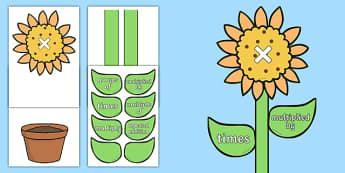 Maths Multiplication Vocabulary Flower Display - maths, multiplication, vocabulary, flower, display