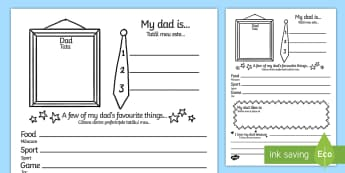 Father's Day 'About My Dad' Writing Frame English/Romanian - Father's Day 'About My Dad' Writing Frame - father's day, fathers day, fathers day writing frame