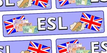 Banderole d'affichage : English as a Second Language - Anglais LV
