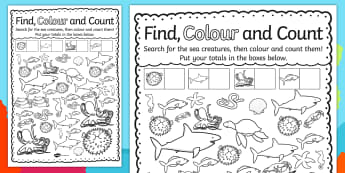 Under the Sea Find, Colour and Count Worksheet / Activity Sheet - activities, worksheet