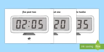 Digital Clocks to the Nearest 5 Minutes Display Posters - Digital Clocks - Half Past - Time resource, digital clock, Time vocaulary, clock face, O clock, half