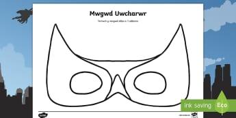 Dylunio Mwgwd Uwch-arwr Mygydau Chwarae Rôl - Mwgwd, mask, superhero, uwch-arwr,Welsh