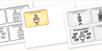 The Queen of Hearts Sequencing (4 per A4) - The Queen of Hearts, sequencing, nursery rhyme, rhyme, rhyming, nursery rhyme story, nursery rhymes, Queen of Hearts resources