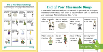 End of Year Classmate Bingo Activity - CfE End of Year, transition, friendships, included,all about me,Scottish