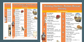 History Hackers: Roman Rescue Glossary - useful words, definitions, meanings, helpful hints, Romans