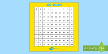 100 (Hundred) Square - Number square, hundred square, Counting, Numbers 0-100