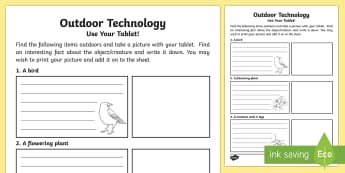 Outdoor Technology Worksheet / Activity Sheet - CfE Outdoor Learning, nature, forest, woodland, playground, treasure hunt, bugs, worksheet, flowers,
