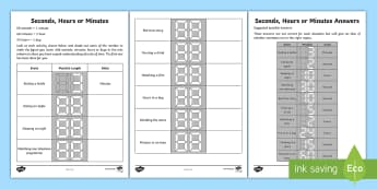 Seconds, Minutes and Hours Activity Sheet - Learning from Home Maths Workbooks, estimating time, measuring time, worksheet