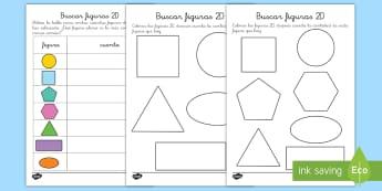 Ficha de actividad: Búsqueda de figuras planas - ficha, actividad, figuras planas, fiugras 2D, formas 2D, formas planas, mates, matemáticas, geometr