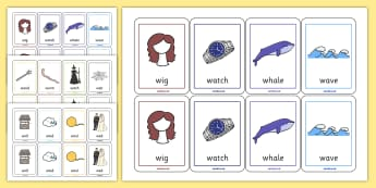 Initial w Sound Playing Cards - initial w, games, cards, activity
