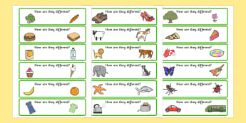 How Are They Different Activity Cards - differences, SEN cards