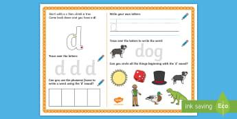 UAE EY 'd' Sound Activity Mat  - Letters and Sounds, grapheme, phoneme, satpin, letter formation, handwriting, EYFS, Development matt