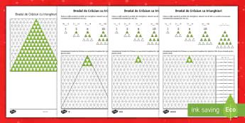 Brazi de Crăciun cu numerele triunghiurilor - Fișe pentru activitate diferențiată - craciun, matematica, numeratie, siruri logice, română, adunări, fișe, materiale, Romanian