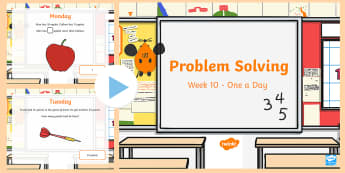 Week 10 - Problem Solving - One a day PowerPoint - Addition, Subtraction, adding, subtracting, add, subtract, Word Problem, Solving, RUDE,Irish