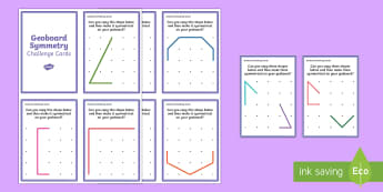 Geoboard Symmetry Challenge Cards - Requests KS1, maths, symmetrical, fine motor, patterns, elastic bands, rubber bands, activity, chall