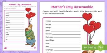 Mother's Day Unscramble Worksheet / Activity Sheet - ROI- Mothers Day/ Lá na Maithreacha, Worksheet / Activity Sheet, Scrambled Words, Jumbled letters,Irish
