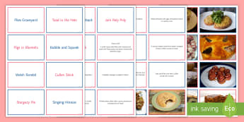 Strange Food Names Matching Cards - food, toad In the Hole, quiz, match up, pairs, images, Jam Roly Poly, pastry, Food history