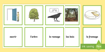The Crow and the Fox Matching Cards French - KS2, French, Fables, Jean De La Fontaine, The Crow and the Fox, Snap Cards, Matching Cards,French