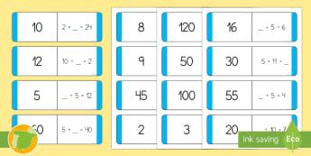 Tarjetas de emparejar: Multiplicar y dividir por 2, 5 y 10  - x2, x5, x10, por dos, por cinco, por diez, mates, matemáticas,Spanish