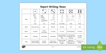 The 5 Ws Dice Activity - news, newspaper, report, journalist, who, where, why, what, when,Spanish