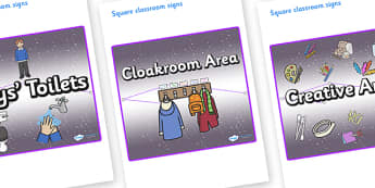 Chameleon Star Constellation Themed Editable Square Classroom Area Signs (Plain) - Themed Classroom Area Signs, KS1, Banner, Foundation Stage Area Signs, Classroom labels, Area labels, Area Signs, Classroom Areas, Poster, Display, Areas