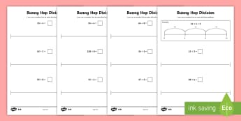 Bunny Hop Division by 3 4 8  Differentiated Activity Sheets - Repeated Subtraction, Number Line, Divide, Share, Steps