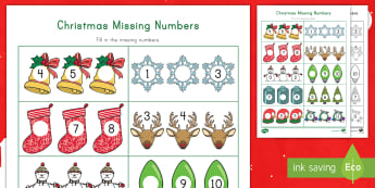 Christmas Missing Numbers Activity Sheet - Rote Counting, Writing Numbers, Number Recognition, Number Skills, Early Childhood Math Activities,