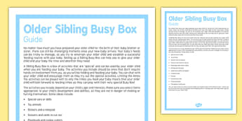 Guide to Creating an Older Sibling Busy Box - Baby, newborn, brother, sister, sibling
