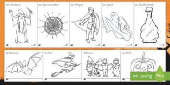 Halloween Anmalbilder - Herbst, gruselig, Kürbis, Hexe, Zauberer, Verkleidung, verkleiden, ,German