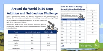 3-4 Around the World in 80 Days Addition and Subtraction Challenge Worksheet / Activity Sheet - Mark Beaumont, Around The World In 80 Days, Cycling, Challenge, World Record, Australian Curriculum,