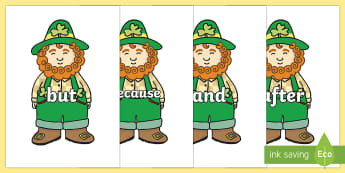 Connectives on Leprechauns - Connectives, VCOP, connective resources, connectives display words, connective displays